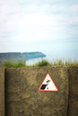 Warning sign Cliffs of Moher, Ireland Stock Images