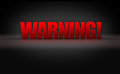 Warning sign d letters on black background dark stage Stock Images