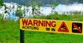 Warning sign - danger crocodiles, no swimming in Queensland, Aus