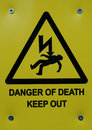 Warning sign danger of death Stock Photos