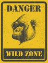 Warning sign danger signal with gorilla eps eye Royalty Free Stock Photography