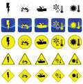 Warning sign for electricity shock, explosive, corrosion, cold, heat vector Royalty Free Stock Photo