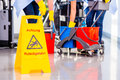 Warning sign on floor in cleaning operation Stock Images