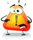 Warning sign icon character illustration of a funny cartoon with eyes and mouth Royalty Free Stock Photography
