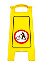 Warning sign please be guided bike isolate on white Royalty Free Stock Images