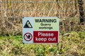 Warning sign of quarry workings Royalty Free Stock Photo