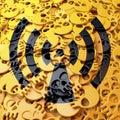 Warning sign radiation, black, yellow skulls Royalty Free Stock Photo