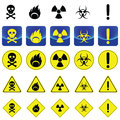 Warning sign for radio active, bio hazard, flame Royalty Free Stock Photo