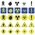 Warning sign for radio active, bio hazard, flame Royalty Free Stock Photo