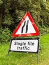 Warning sign, road narrows Royalty Free Stock Photo