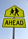 Warning Sign - School Children Crossing Stock Photo