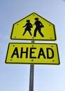 Warning Sign - School Children Crossing Royalty Free Stock Photo