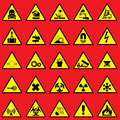 Warning sign set vector icons of and danger symbols Stock Photos