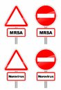 Warning sign signs for mrsa and contagious norovirus Royalty Free Stock Images