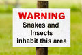 Warning sign snakes & insects Stock Image