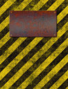 Warning sign stripes plaque Royalty Free Stock Image