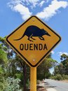 A warning sign to motorist that they need to be on the lookout for a rare animal marsupial called Quenda Royalty Free Stock Photo