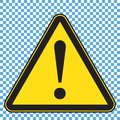 Warning sign, triangle yellow sign with exlamation mark