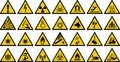 Warning sign vector sign - Set of triangle yellow warning sign. Royalty Free Stock Photo
