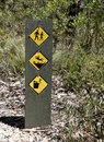 Warning signs along the trekking paths in the grampians national park Royalty Free Stock Photo