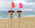 Warning signs on north shore oahu Stock Images