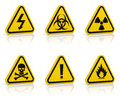 Warning signs set of yellow triangle isolated on white glossy floor Stock Photos