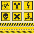 Warning signs, symbols. Seamless tape. Royalty Free Stock Photo
