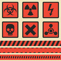 Warning signs, symbols. Vector set. Seamless tape Royalty Free Stock Photo
