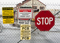 Warning signs to keep out of dangerous area Royalty Free Stock Photo