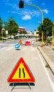 Warning signs for work in progress on road under construction. Royalty Free Stock Photo