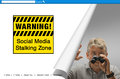 Warning social media stalking zone sign screen a with a that reads with a creepy man with binoculars down in the corner Royalty Free Stock Image