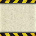 Warning stripes frame with old paper background and Royalty Free Stock Photography