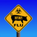 Warning swine flu H1N1 sign Stock Image