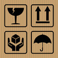 Warning Symbol cardboard box, , flat design, elements