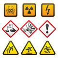 Warning symbols - Hazard Signs-First set Royalty Free Stock Photo