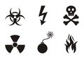 Warning symbols set of black icons isolated Stock Photo