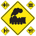 Warning train sign yellow on white background Royalty Free Stock Photography