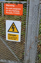 Warning trespass sign railway signs that trespassing on the railway can impose a penalty and a danger never to touch the live rail Stock Images