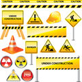 Warning and under construction signs set Stock Images