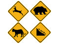 Warning wildlife signs Royalty Free Stock Image