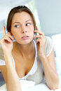 Warning woman on the phone Royalty Free Stock Images