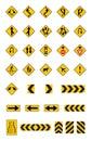 Warning yellow road signs, traffic signs  set Royalty Free Stock Photo