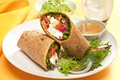 Warp alternative taco or burrito which includes traditional sandwich fillings wrapped in a tortilla Stock Images