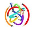 Warp multicolour pencils as ball on a white background Stock Photos