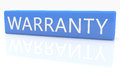 Warranty d render blue box with text on it on white background with reflection Stock Image
