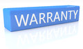 Warranty d render blue box with text on it on white background with reflection Stock Photos