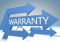 Warranty d render concept with blue arrows on a bluegrey background Royalty Free Stock Photo