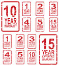 Warranty rubber stamps red stamp vector for concept including and year extended Royalty Free Stock Photo