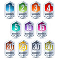 Warranty seal hexagon chrome badge badges with one two three four five ten fifteen twenty twenty five and thirty terms Stock Photos
