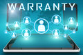 Warranty text illustration with social icons and tablet computer and mobile cellphones on cyan digital world map background Royalty Free Stock Images